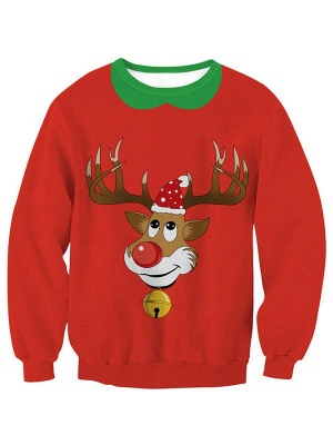Women's Red Elk Printed Long Sleeves Casual Christmas Sweatshirt_1