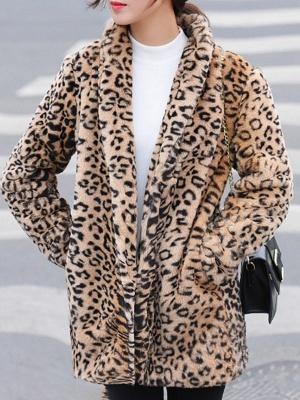 Brown Shawl Collar Casual Shift Pockets Fur And Shearling Coats_8
