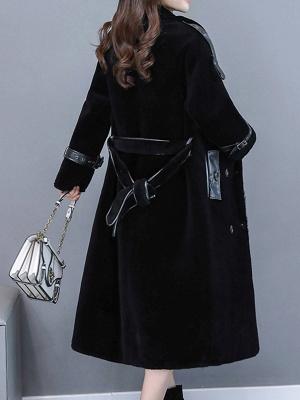 Solid Paneled Long Sleeve Fur And Shearling Coats_10