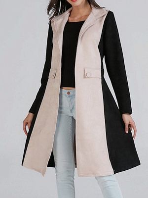 Black Solid Long Sleeve Color-block Coat_6