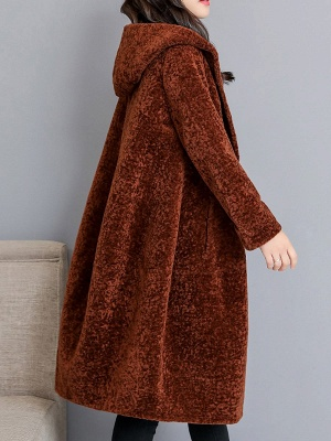 Buttoned Long Sleeve Hoodie Fur And Shearling Coats_5