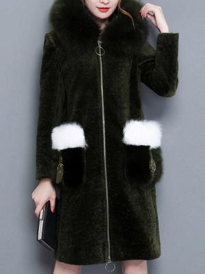 Shift Zipper Pockets Hoodie Fur and Shearling Coat_1