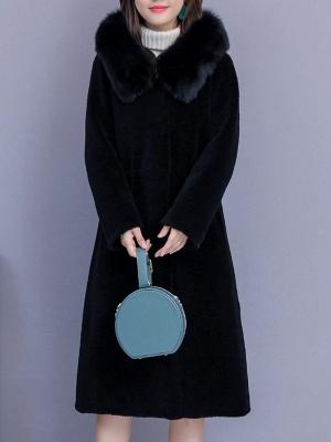 Hoodie Shift Pockets Long Sleeve Fur And Shearling Coats_2