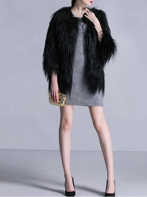 Black Fluffy Crew Neck Casual 3/4 Sleeve Fur and Shearling Coat_4