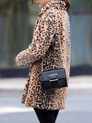 Brown Shawl Collar Casual Shift Pockets Fur And Shearling Coats_7