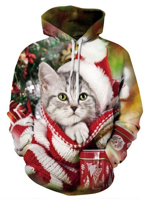 Plus Size Couple Hoodies Fashion Ugly Christmas Cat Printed Hooded Clothes for Women/Men_2
