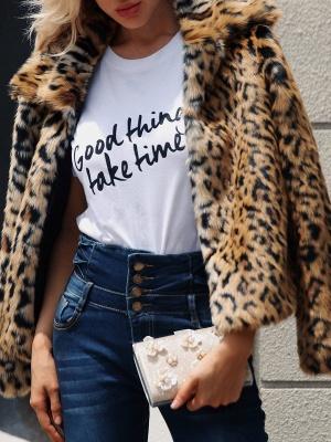 Brown Long Sleeve Leopard Print  Fur and Shearling Coat_4