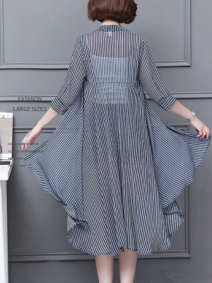 al Shirt Collar 3/4 Sleeve See-through Look Chiffon Striped_4