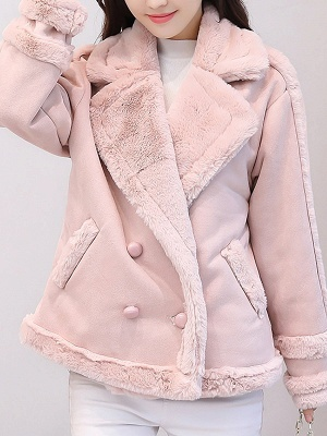 Lapel Buttoned Solid Pockets Fur And Shearling Coats_2