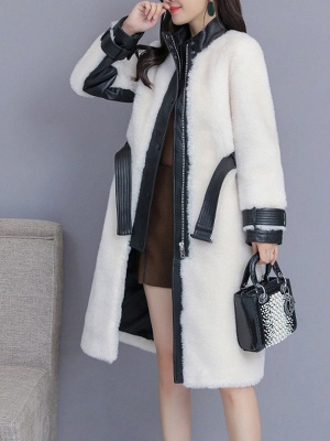 Pockets Long Sleeve Fur And Shearling Coats_10