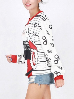 White Santa Claus Letter Printed Stripes Long Sleeves Christmas Sweatshirt_4