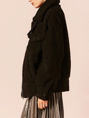 Black Buttoned Long Sleeve Solid Fur And Shearling Coats_4