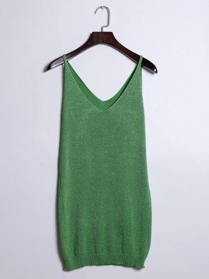 Sleeveless Deep V-neck Silver Wire Knit Harness Vest Tank Top_9