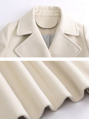 Long Sleeve Shift Casual Solid Lapel Buttoned Pockets Coat_7