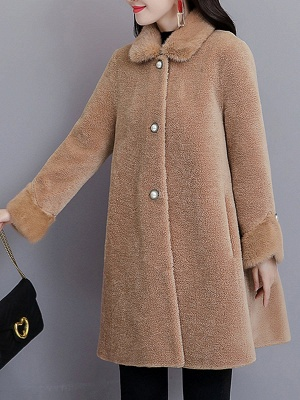 Buttoned Long Sleeve Solid Fur And Shearling Coats_6