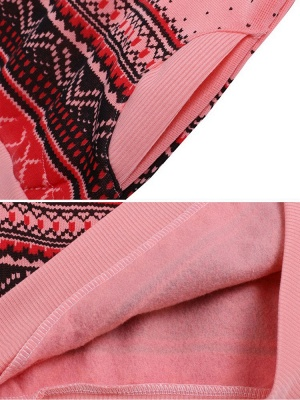 Ethnic Style Snowflakes Printed Thick Fleece Hoodies Casual Hooded Christmas Clothing for Women_11