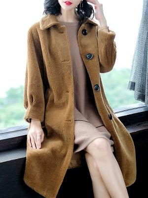 Brown Shawl Collar Casual Fur And Shearling Coats_4