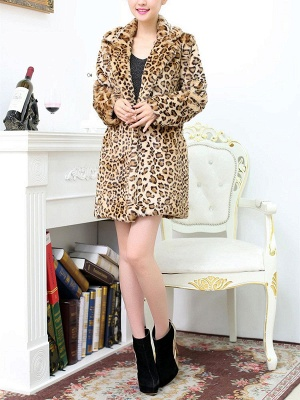 Casual Leopard Print Long Sleeve Artificial Leather And Shearling Coat_5