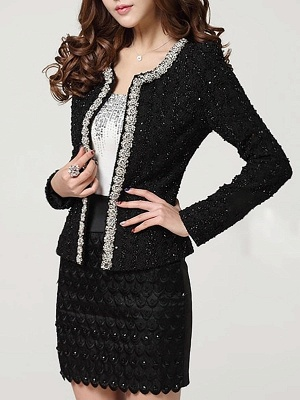 Beaded Solid Work Swiss-dot Coat with Brooch_2