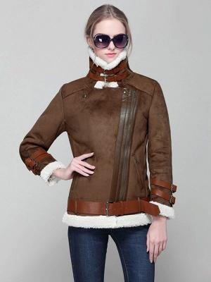 Long Sleeve Zipper Solid Casual Fur And Shearling Coats_1