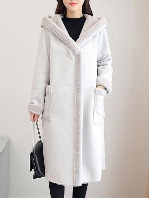 Hoodie Long Sleeve Casual Fur And Shearling Coats_6