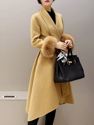 High Low Bow Asymmetric Solid Fur And Shearling Coats_1