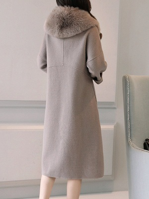 Gray Elegant A-Line Hoodie Fur And Shearling Coats_3