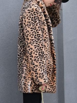 Brown Shawl Collar Casual Shift Pockets Fur And Shearling Coats_4