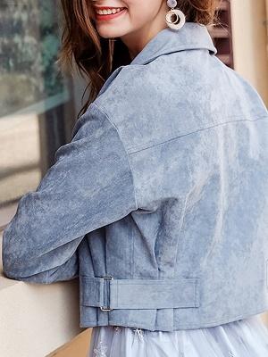 Blue Shirt Collar Long Sleeve Solid Coat_3
