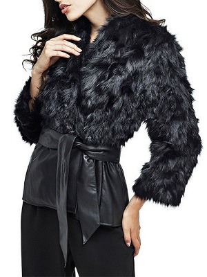 Black Casual Paneled Faux Fur Solid Fur and Shearling Coat_6