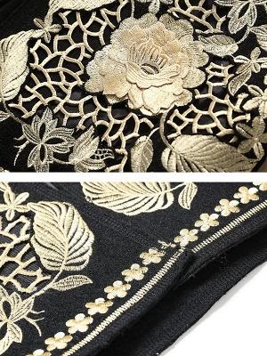 Black Long Sleeve V-Neck Floral-embroidered Coat_5