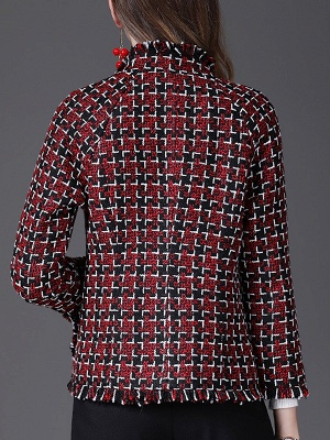 Red Work 3/4 Sleeve Checkered/Plaid Buttoned Coat_3