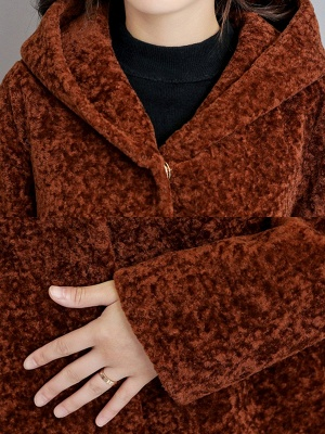 Buttoned Long Sleeve Hoodie Fur And Shearling Coats_11