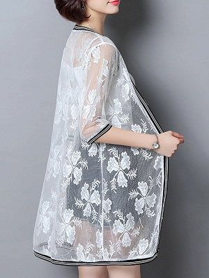 Casual Guipure lace 3/4 Sleeve Solid Summer Coat_4