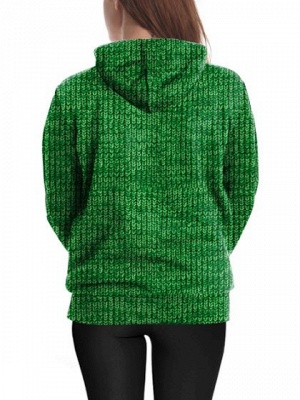 Couple's Christmas Hoodies Green Gingerbread Man Printed Casual Hooded Clothes for Men/Women_5