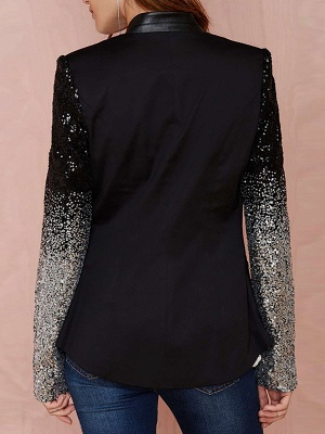 Black Casual Solid Long Sleeve Glitter-finished Coat_3