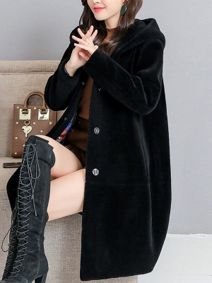 Buttoned Long Sleeve Hoodie Fur And Shearling Coats_2