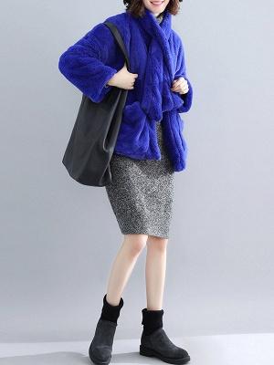 Solid Long Sleeve Pockets Fluffy Fur And Shearling Coats_14