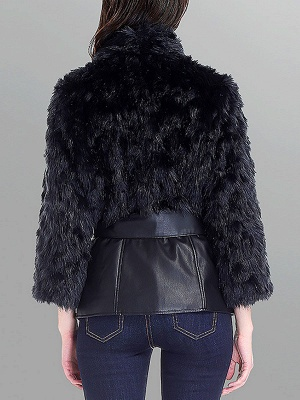 Black Casual Paneled Faux Fur Solid Fur and Shearling Coat_3