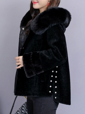 Beaded Slit Hoodie Fur And Shearling Coats_2