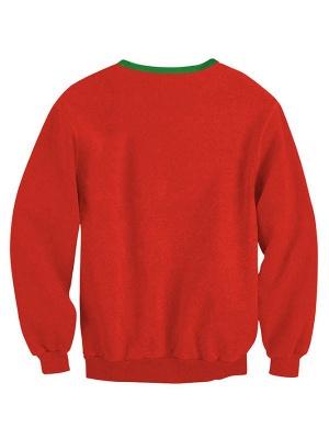 Women's Red Elk Printed Long Sleeves Casual Christmas Sweatshirt_3