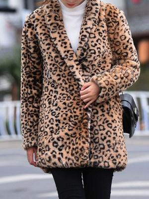 Brown Shawl Collar Casual Shift Pockets Fur And Shearling Coats_5