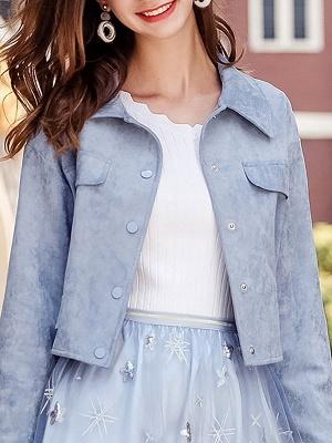 Blue Shirt Collar Long Sleeve Solid Coat_7