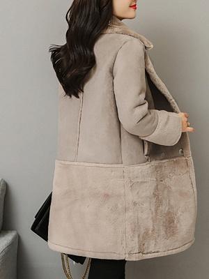 Lapel Long Sleeve Shift Solid Fur And Shearling Coats_4
