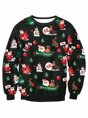 Casual Black Santa Claus Merry Christmas Sweatshirt For Women_1