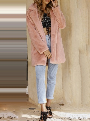 Pink Long Sleeve Casual Fur And Shearling Coats - StyleWe.com_6