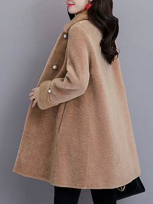 Buttoned Long Sleeve Solid Fur And Shearling Coats_14
