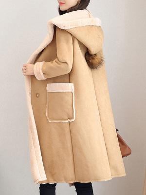 Hoodie Long Sleeve Casual Fur And Shearling Coats_4