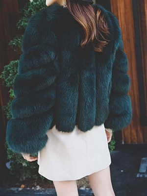 Casual Long Sleeve Shift Crew Neck Fur and Shearling Coat_8