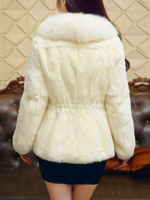 White Casual Shift Fluffy  Buttoned Fur and Shearling Coat_3
